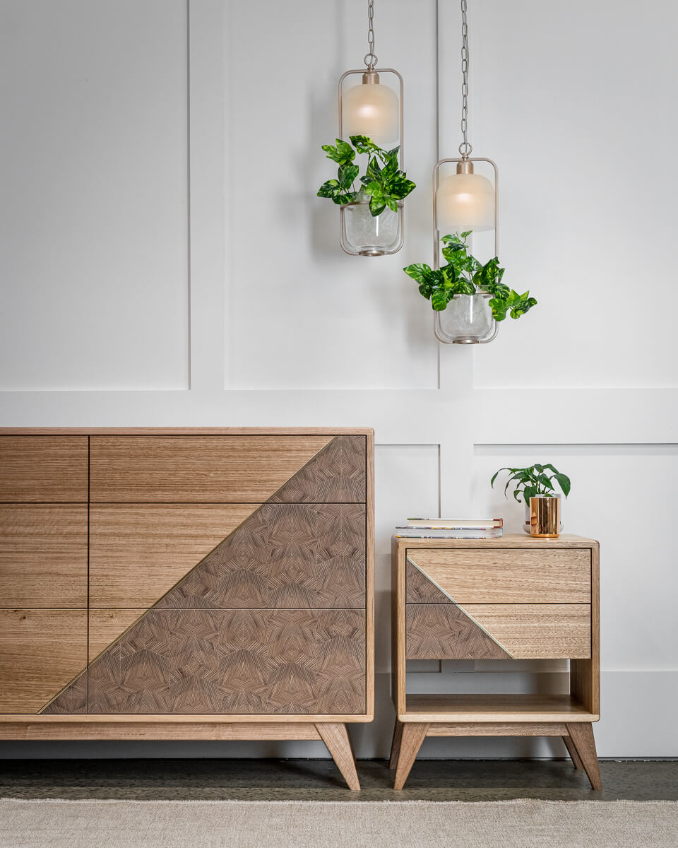 end grain chevron dresser with side table Pedulla Studio