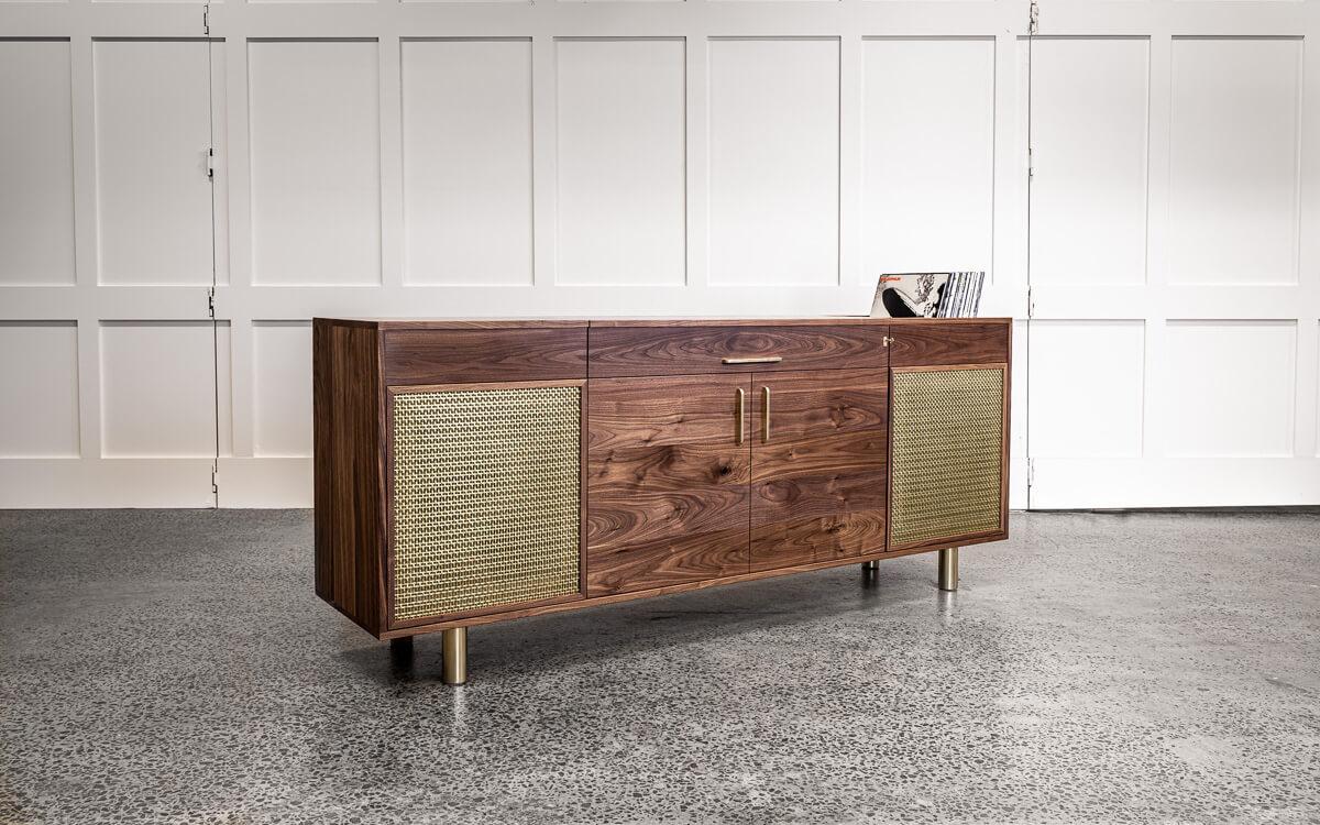 walnut and brass record cabinet closed Pedulla Studio
