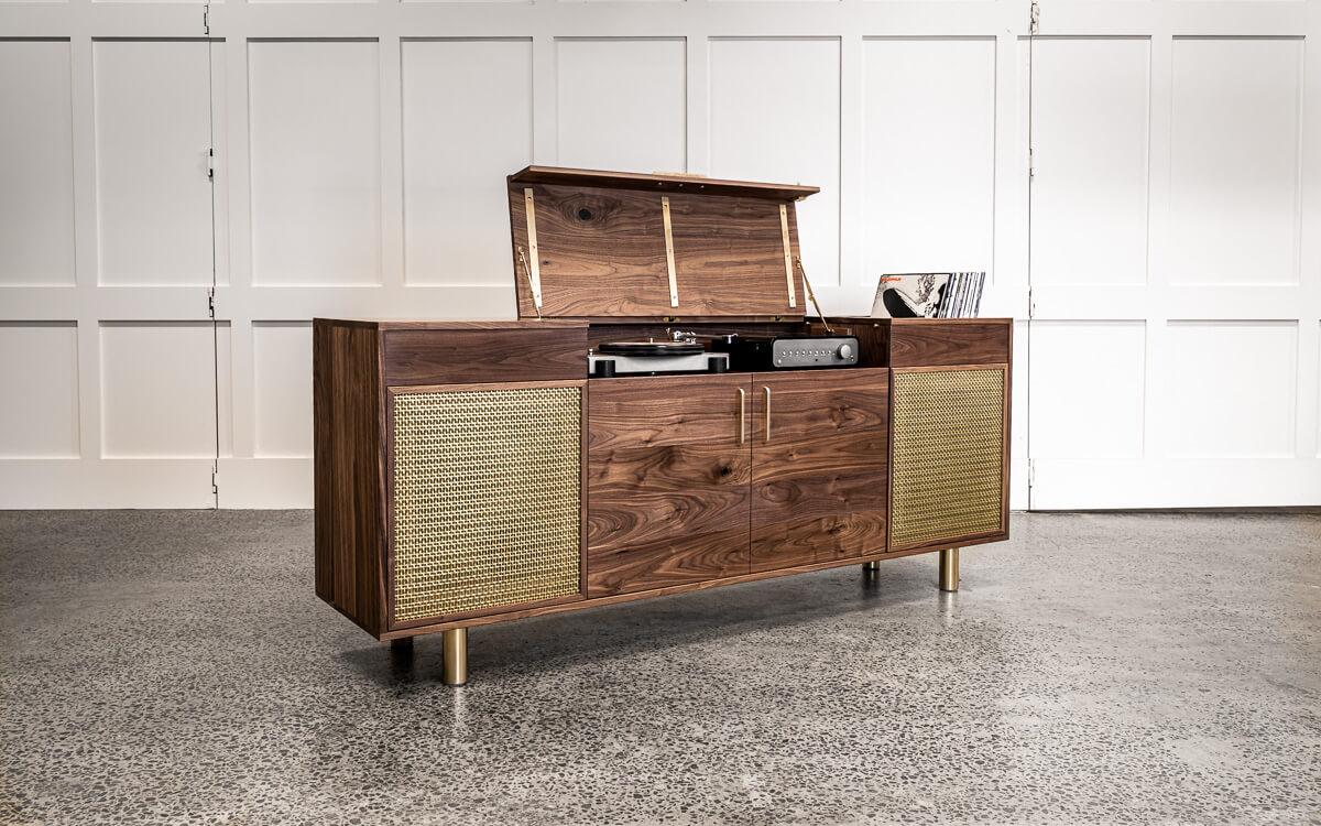 walnut and brass record cabinet open Pedulla Studio