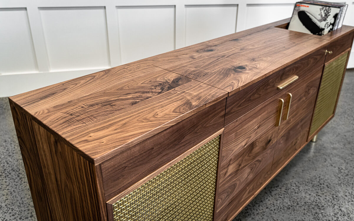 walnut and brass record cabinet close Pedulla Studio