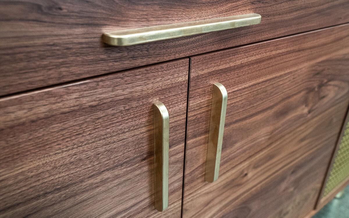 walnut and brass record cabinet brass handles