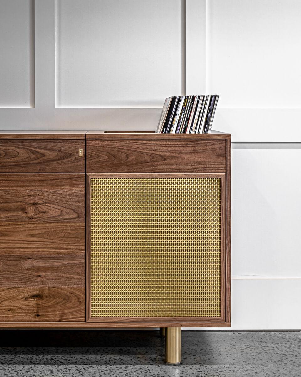 walnut and brass record cabinet close up Pedulla Studio