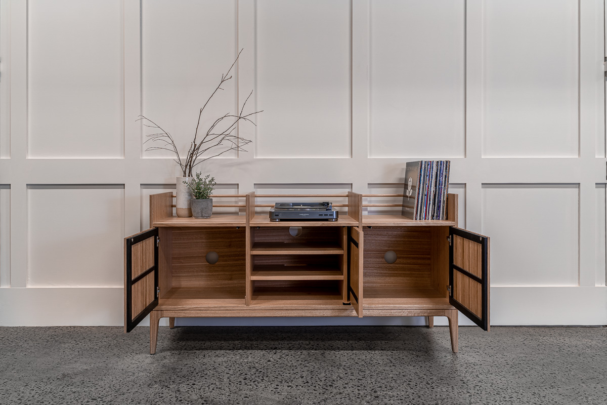 Tasmanian Oak Record Cabinet with doors open to show the insides of the cabinet Pedulla Studio