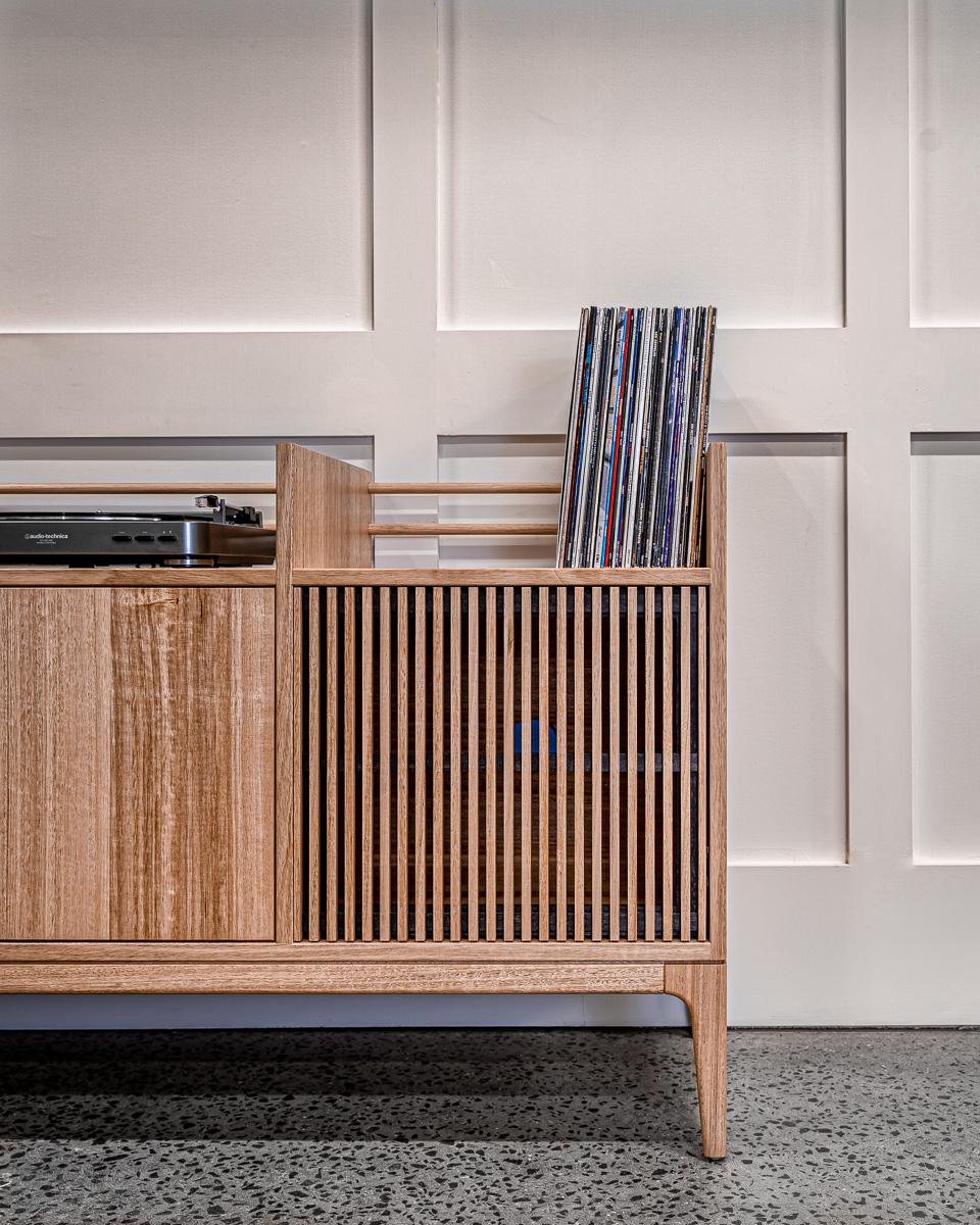 Tasmanian Oak Record Cabinet close up shot Pedulla Studio